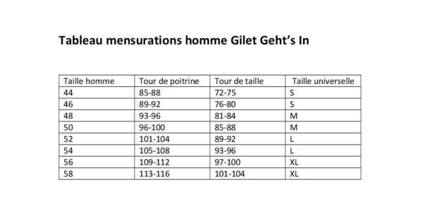 correspondance des taille homme gilet Geht's In